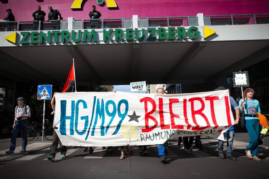 Mobilmachung: Proteste in Kreuzberg gegen die drohende Zwangsräumung von Hans Georg Lindenau.
