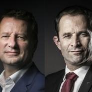 In etwa zwei Monaten wählen die Franzosen ihren neuen Staatschef: Grünen-Politiker Yannick Jadot (links) zog seine Kandidatur zurück, um den Sozialisten Benoît Hamon (rechts) zu unterstützen.