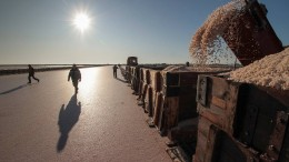 Salz-Ernte auf der Halbinsel Krim