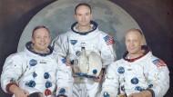 """Von links nach rechts: Neil A. Armstrong, Michael Collins, Edwin E. """"Buzz"""" Aldrin"""