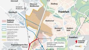 Über den neuen Stadtteil entscheidet Frankfurt nicht allein
