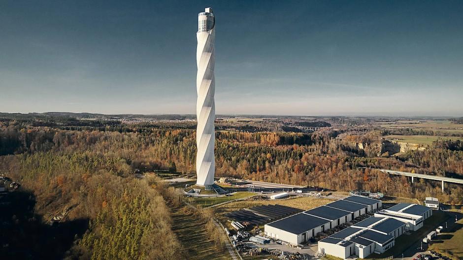 Testturm in Rottweil für Hochgeschwindigkeitsaufzüge von Thyssen-Krupp