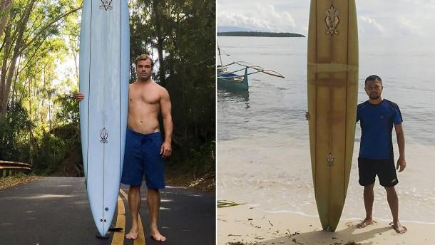 Surfbrett treibt 8000 Kilometer weit bis zu den Philippinen