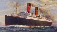 """Der Ozeanriese """"Laconia"""" auf einem Werbeplakat von 1910. Im Februar 1917 wurde das Schiff nahe der irischen Küste von """"U50"""" angegriffen und versenkt."""