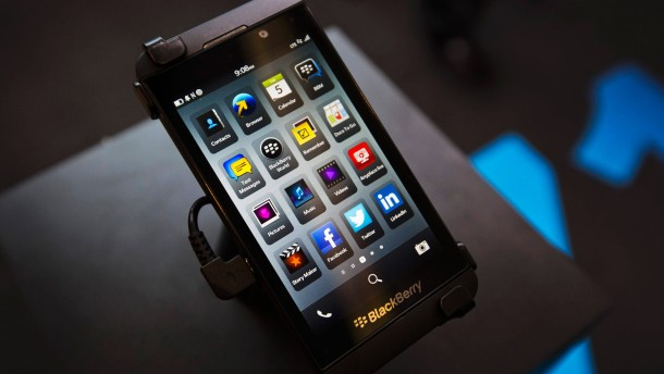 A Blackberry Z10 is displayed at a store in Toronto