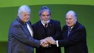 Gute Freunde kann niemand trennen: Fifa-Chef Blatter (r.) und der brasilianische Fußball-Allmächtige Teixeira (l.) mit dem brasilianischen Staatspräsidenten Lula