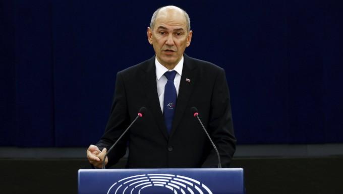 Sloweniens Ministerpräsident Janez Janša am Dienstag im EU-Parlament
