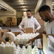 Nach der Etikettierung werden die Flaschen von der Treox GmbH in Kartons verpackt.