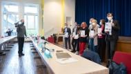 Die Spitzen der Grünen, SPD, FDP und Volt bei der Vorstellung des Koalitionsvertrags im Mai 2021