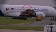 Airbus A380 nach Kollision beschädigt