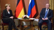 Treffen in Deauville: Bundeskanzlerin Merkel und Präsident Putin