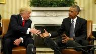 Zusammenarbeit mit Vorbehalten: Der gewählte Präsident Donald Trump und sein Amtsvorgänger Barack Obama