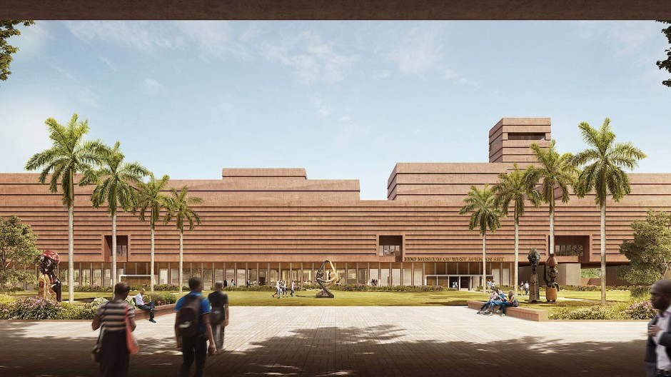 Als lägen Schichten übereinander: Simulation des Edo Museum of West African Art, wie es sich der Architekt David Adjaye vorstellt.