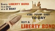 Nach Kriegseintritt zählten in den USA entsprechende Anleihen zu den ersten Maßnahmen zur Vorbereitung auf den Waffengang. Werbeplakat, 1917.