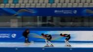 Athleten in Peking während einer Test-Veranstaltung vor den Olympischen Winterspielen 2022