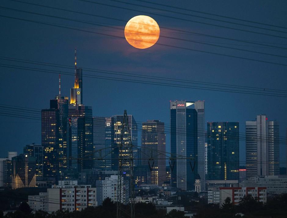 Der Vollmond geht über den Bankgebäuden von Frankfurt auf.