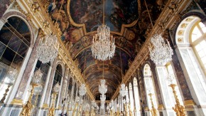 A general view of the newly renovated Hall of Mirrors is seen at the Versailles Palace near Paris