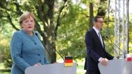 Bundeskanzlerin Angela Merkel und Polens Ministerpräsident Mateusz Morawiecki am Samstag in Warschau
