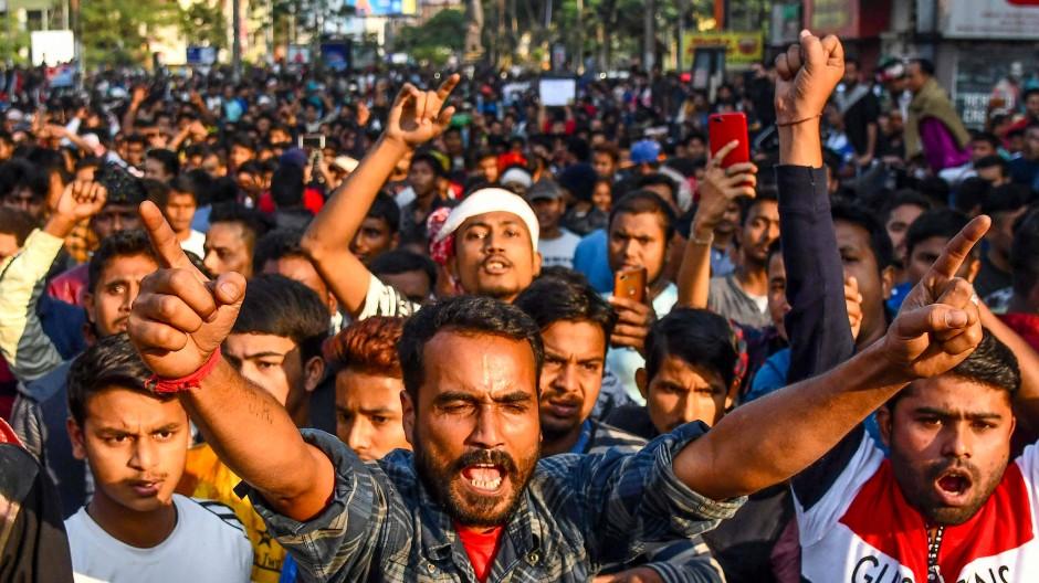 Aufgebracht: Demonstranten in Nordostindien, die den Verlust der indischen Staatsbürgerschaft befürchten
