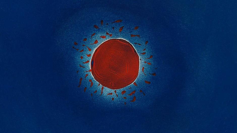 """Kosmischer Proto-Polka-Dot: Yayoi Kusama, """"Sun"""", 1953, Öl, Gouache und Pastell auf Papier, 26,6 mal 31 Zentimeter: Taxe 40.000/60.000 Dollar"""
