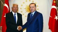 Thorbjørn Jagland bei seinem Türkei-Besuch mit Präsident Erdogan