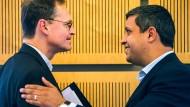 Trügerisches Lächeln: Berlins  Bürgermeister Müller und SPD-Fraktionsvorsitzender Saleh