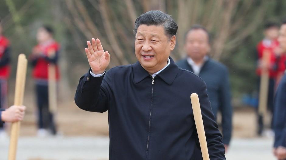 Gibt sich ein neues, ökologisches Profil: Chinas Staatschef Xi Jinping beim Bäumepflanzen im Bezirk Chaoyang
