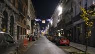 Die Innenstadt in Brüssel ist menschenleer. Viele Arbeitnehmer arbeiten in der Pandemie von zuhause aus.