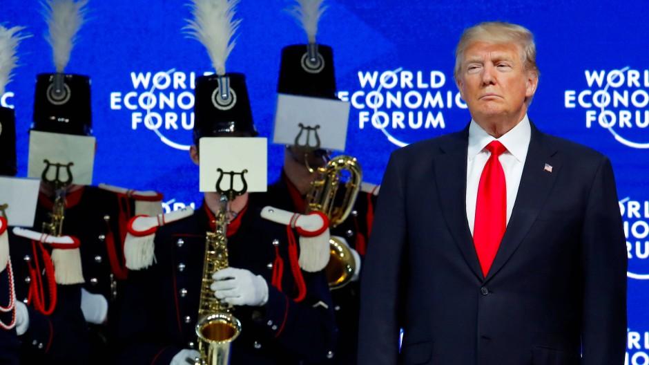 Donald Trump vor seiner Rede in Davos