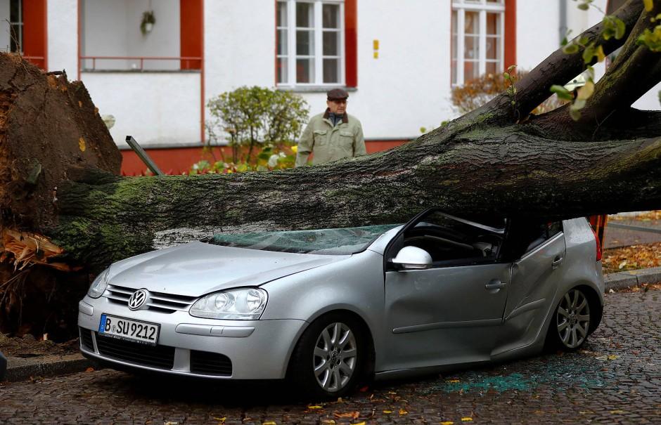 """Ein Baum begräbt ein Auto in Berlin unter sich – Folge des Sturms """"Herwart""""."""