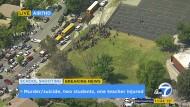 """Live-Berichterstattung aus einem Helikopter. Die Schüler der """"North Park Elementary School"""" wurden nach einer Schießerei evakuiert."""