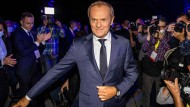 "Wieder da: Donald Tusk vor dem Beginn des Parteikongresses der liberalen ""Bürgerplattform"" im Warschau am 3. Juli"
