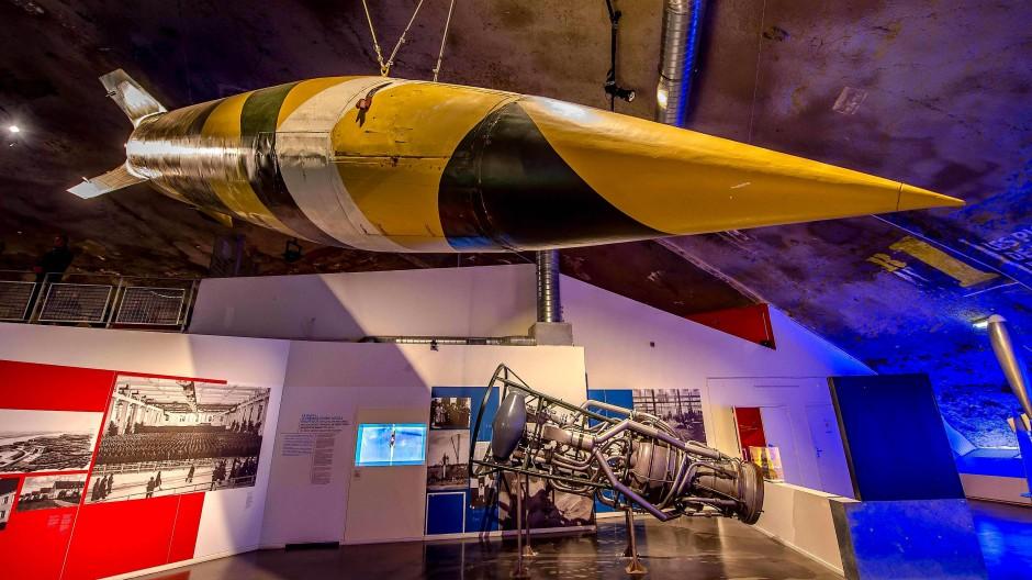 Hitlers geheime Waffe: V2-Rakete im Centre d'Histoire et de Mémoire de La Coupole im französischen Helfaut