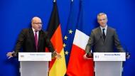 Schreiten gemeinsam voran: Finanzminister Altmaier (links) und sein französischer Amtskollege Le Maire