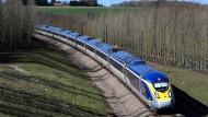 Ein Eurostar-Zug in Großbritannien auf dem Weg nach Frankreich.