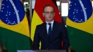 Mitten im Geschehen: Außenminister Heiko Maas bei einer Pressekonferenz in Brasilien während seiner Südamerikareise