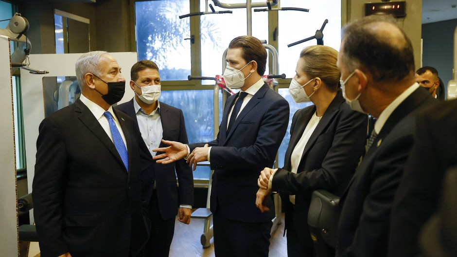 Die Regierungschefs Dänemarks und Österreichs, Mette Frederiksen und Sebastian Kurz, treffen am 4. März Israels Ministerpräsidenten, Benjamin Netanjahu.
