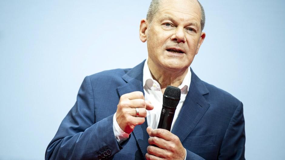Olaf Scholz, Kanzlerkandidat der SPD, am 20. Juni 2021 auf dem Digitalen Zukunftscamp seiner Partei in Berlin