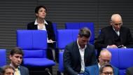 Bundestag, letzte Reihe: Die fraktionslose Abgeordnete der Blauen Partei Frauke Petry.