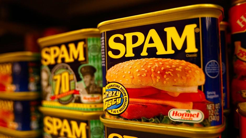 Spam steht in seiner ursprünglichen Bedeutung nicht für zweifelhafte Massen-E-Mails, sondern für Konservenfleisch.