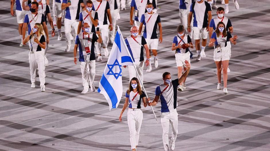 Die israelische Olympiamannschaft bei der Eröffnungsfeier in Tokio