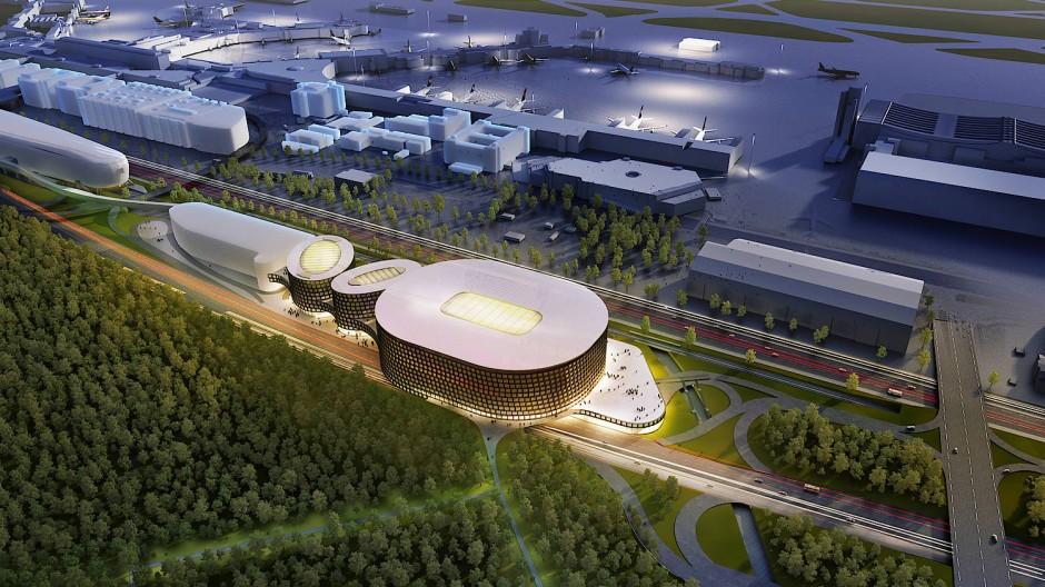 So könnte die Multifunktionshalle am Flughafen aussehen