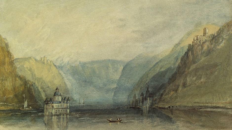 Die Zollburg liegt im Fluss wie ein steinernes Schiff: Die Pfalz bei Kaub, wie William Turner sie 1817 malte.