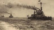 Deutsche Linienschiffe auf See. Schiffe wie diese halfen dem alten Lotsen Asmus Klindt dabei, die Wette gegen seinen Nachbarn zu gewinnen.