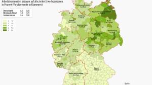 Weniger Arbeitslose in Deutschland