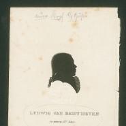 Ein reiner Titan? Dieses früheste authentische Beethoven-Porträt, die Lithographie der Gebrüder Becker nach einem Schattenriss von Joseph Neesen, wird in den Biographien verdächtig selten abgebildet. Der Porträtierte ist fünfzehn Jahre alt.