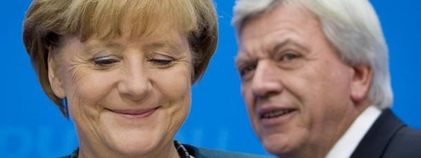 """Die Frage """"Warum Merkel?"""" hat sich für die CDU und Ministerpräsident Volker Bouffier nicht gestellt"""