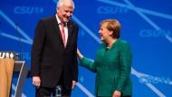 Plötzlich versöhnt: Angela Merkel mit Horst Seehofer beim CSU-Parteitag in Nürnberg