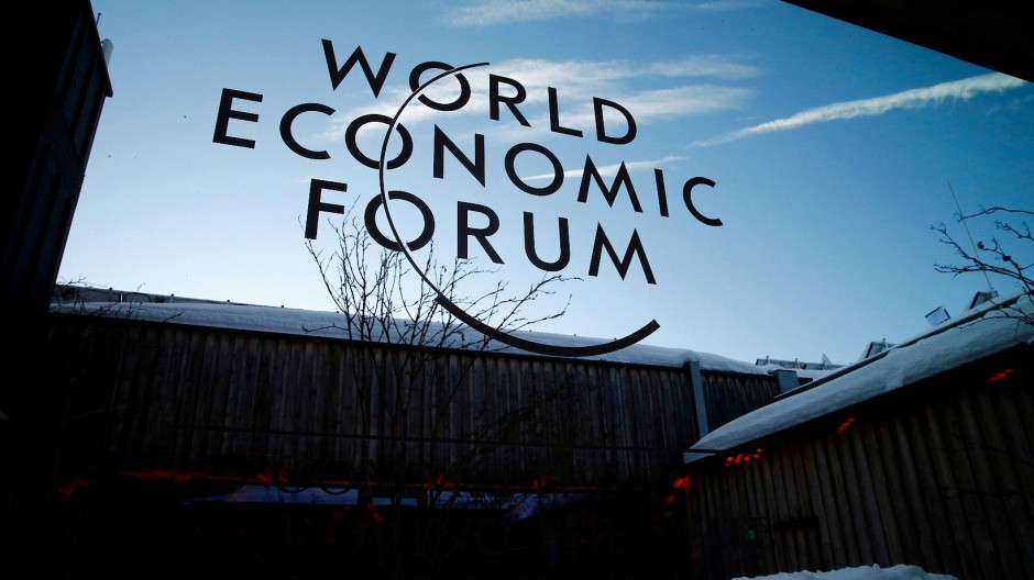 Das Logo des Weltwirtschaftsforums (WEF) beim 50. Jahrestreffen im Januar 2020 in Davos.