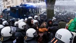 Wasserwerfer beim AfD-Parteitag